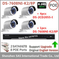 Hikvision NVR DS 7608NI K2 8P 2SATA 8 POE Ports 8ch Play H 265 4pcs Hikvision