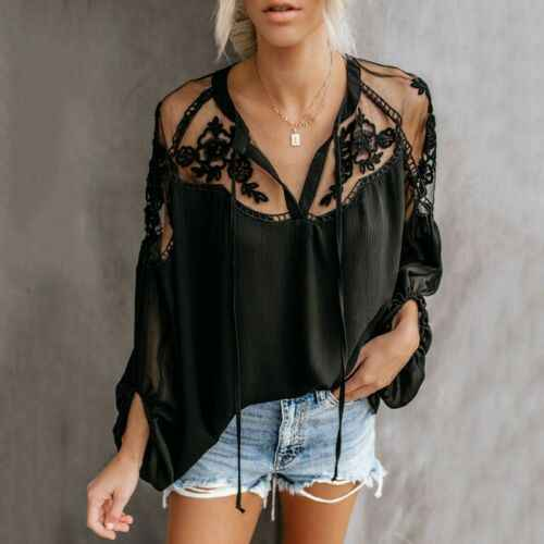 2019 Vogue Boho Mesh Lace Hook Flower Lantern Sleeve Shirts Loose White Black Chiffon Lace Patchwork Blouse Womens Daily