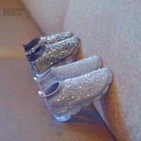 Amazing Luxury Rhinestones Boots For Girls Slip On Kids Footwear Elastic Silhouette Air Sole Comfortable Children