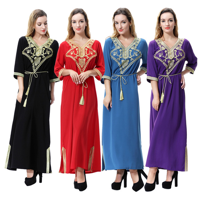 553205ff6dcad8 Hot Women Islamic Clothing Maxi Long Sleeve Dress Moroccan Kaftan Caftan  Abaya Tunic Muslim Gown Turkish Ethnic Embroidery Dress