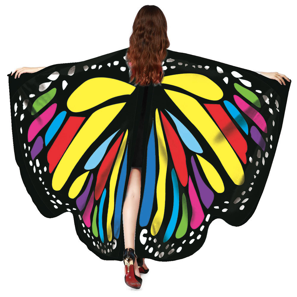 Free Ostrich Butterfly Wings 2019 Novelty Print Scarves Pashminas Kid Shawl Scarves Nymph Poncho Costume Accessory Girl B2240