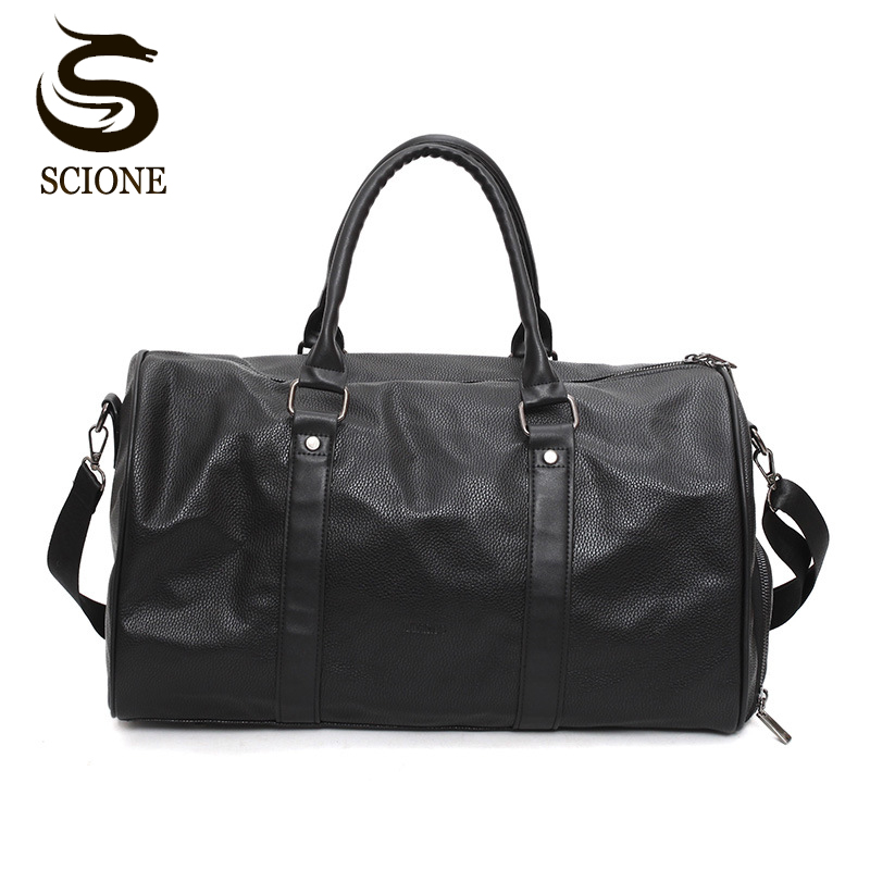 Black PU Leather Bag for Women Fashion Duffel Luggage Mens Travel Bag Handbags Male/Female Multifunction Shoulder Crossbody Bags continental conticrosscontact uhp 255 55 r19 111h xl tl