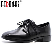 FEDONAS 2018 New Women Genuine Leather Shoes Sexy Square Toe Retro Leather Comfortable Shoes Women Lace