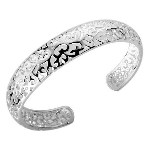 Ethnic silver plated flower bangles retro BOHO girls cuff bracelet lady's hand jewelry DROP SHIPPING