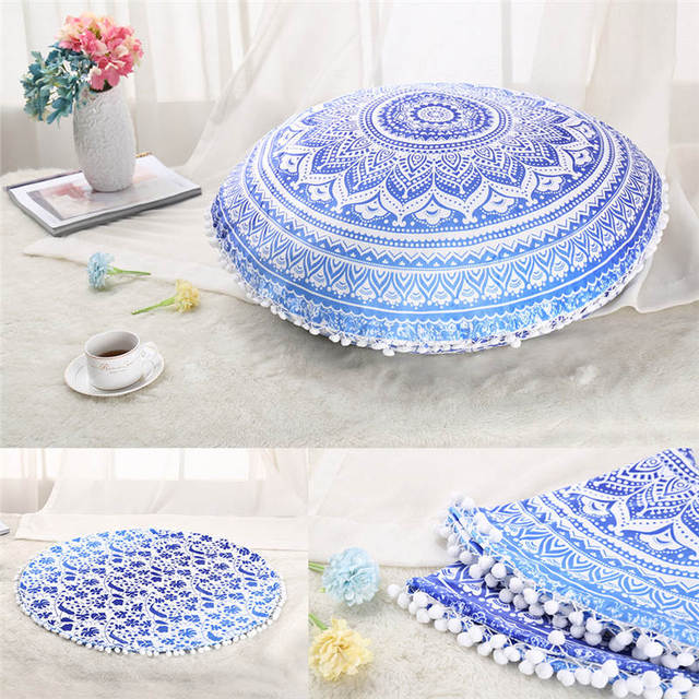 Large Floor Pouf Pillows Indian Mandala Round Cushion Covers Plush