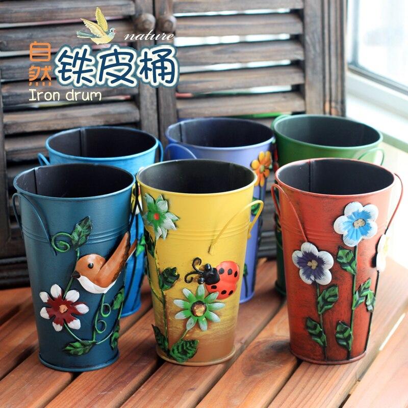 Melakukan vintage tua besi Rumah Furnishing tangan-dicat floral vas Amerika  mode modern ruang tamu besar bak timah 92cee04c66