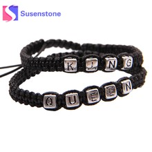 5ee07469 1 par trenzado cuerda pulseras Rey reina carta aleación pulseras y brazaletes  negro cuerda tejida pulsera pareja moda joyería re.