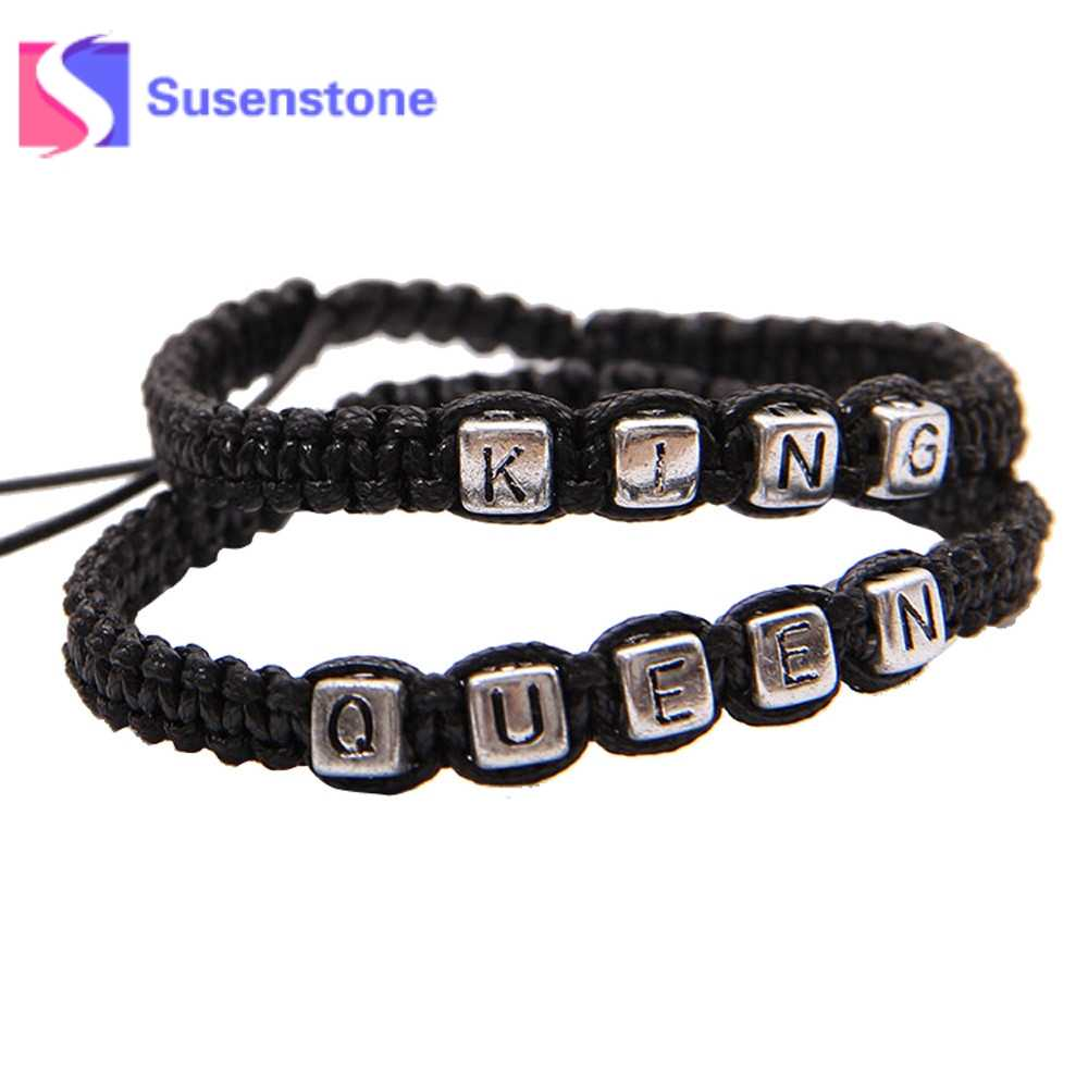 2e1c38d8dec41 1Pair Braided Rope Bracelets KING QUEEN Letter Alloy Bracelets & Bangles  Black Woven Rope Wristband Couple Fashion Jewelry Gifts