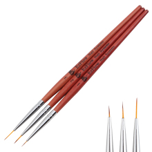 3 Size Red Wood Nail Art Liner Paint Brush Set Acrylic Gel Polish 3D French Line Flower Grid Image DIY Partition Drawing Pen Kit