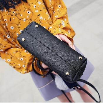 Litchi Pattern Leather Women Casual Handbag 3