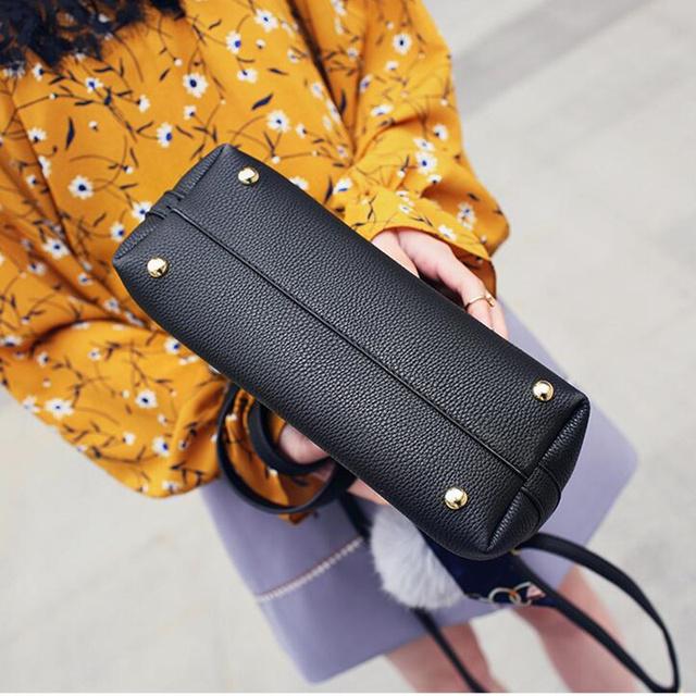 Bolish Litchi Pattern Soft PU Leather Women Handbag Two Pieces Female Shoulder Bag Girls Messenger bag Casual Women Bag