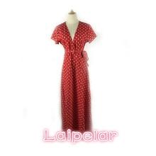 2018 Summer deep v neck dot red long dress elegant high waist tie spring beach dress bow sexy boho robe women dresses vestidos