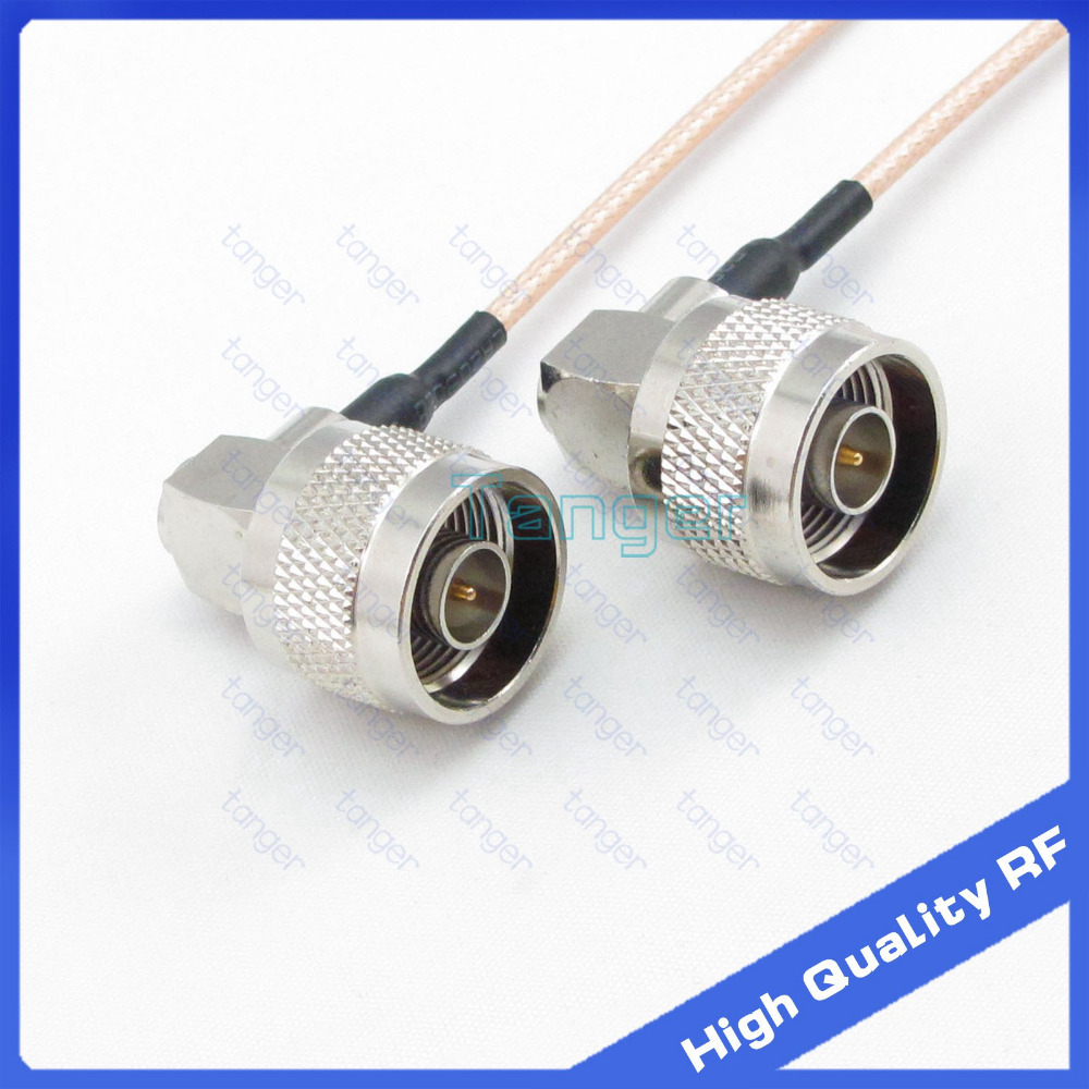 N-type male to male double right angle plug connector with 8in cable RG316 RF Coaxial Pigtail Jumper 8inch 20cm Low Loss cable dvb t rf coaxial to mcx tv antenna connector black 22cm cable