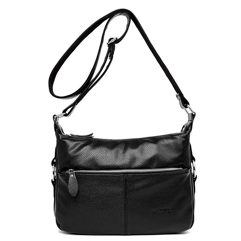 Genuine Leather Women's Messenger Shoulder Bag Female Crossbody Soft Casual Women Embossed Tote Handbags Cowhide Envelope Bolsas women genuine leather character embossed day clutches wristlet long wallets chains hand bag female shoulder clutch crossbody bag