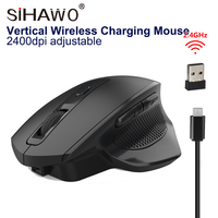 2.4G Wireless Charging Mouse Vertical Healthy Mouse Office Game 2400dpi Adjustable 600 mAh Optical Mouse USB2.0 Silent Mouse|Mice| |  -