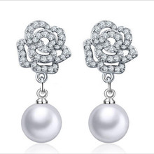 Everoyal New Fashion Silver 925 Lady Drop Earrings Jewelry Female Vintage Pearl Zircon Rose For Women Accessories Hot