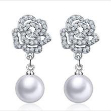 Everoyal New Fashion Silver 925 Lady Drop Earrings Jewelry Female Vintage Pearl Zircon Rose Earrings For Women Accessories Hot цена