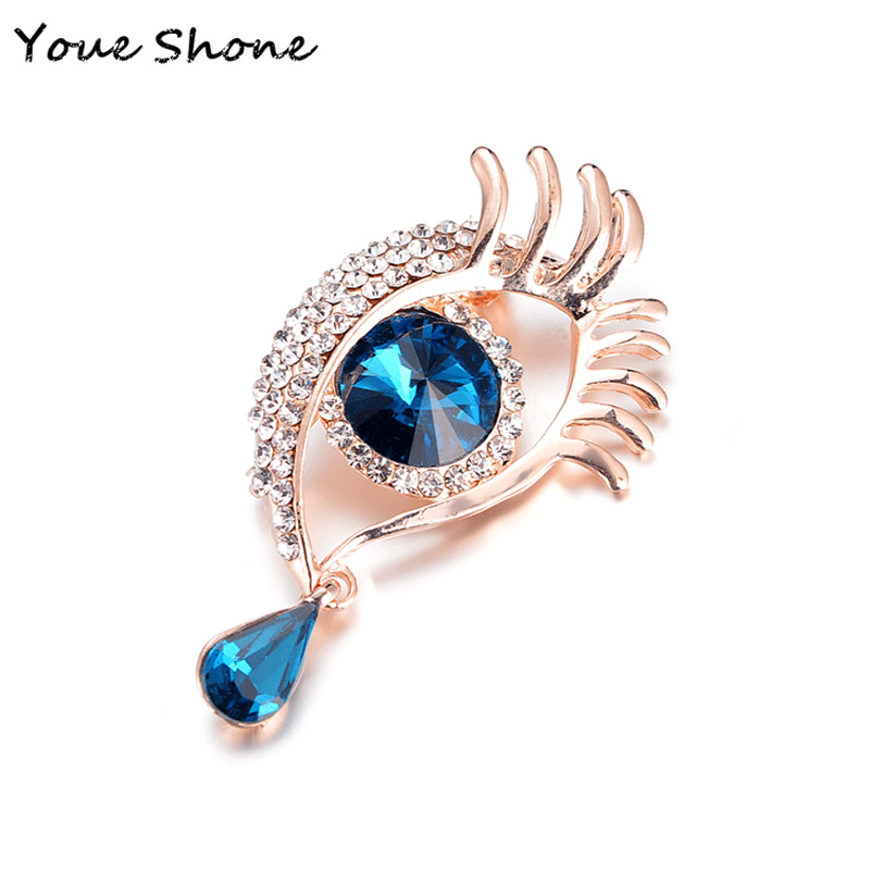 New popular angel tear brooch Women 39 s metal Big eye long eyelash brooch jewelry accessories Party gift For women in Brooches from Jewelry amp Accessories