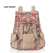 Ethnic Fashion Causal Floral Print Large Bagpack for Women Vintage Rucksack Canvas Bags Travel Backpacks for Teenage Girls