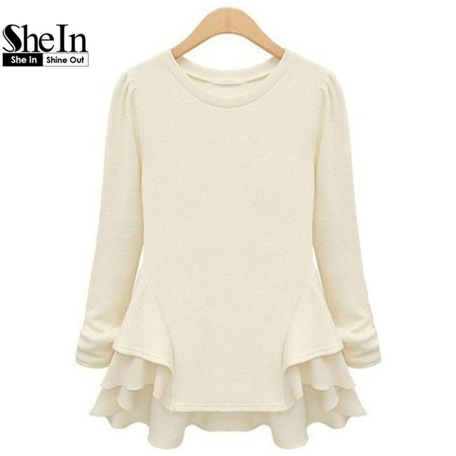 087a7884 SheIn New Autumn Hot Top Women's Beige Long Sleeve Contrast Chiffon Ruffles  Tees Fashion Casual Brief