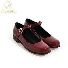 Phoentin mary jane sapatos tornozelo cinta rasa couro patente preto das mulheres sapatos clássicos baixo salto quadrado 2.5 cm dedo do pé quadrado ft153