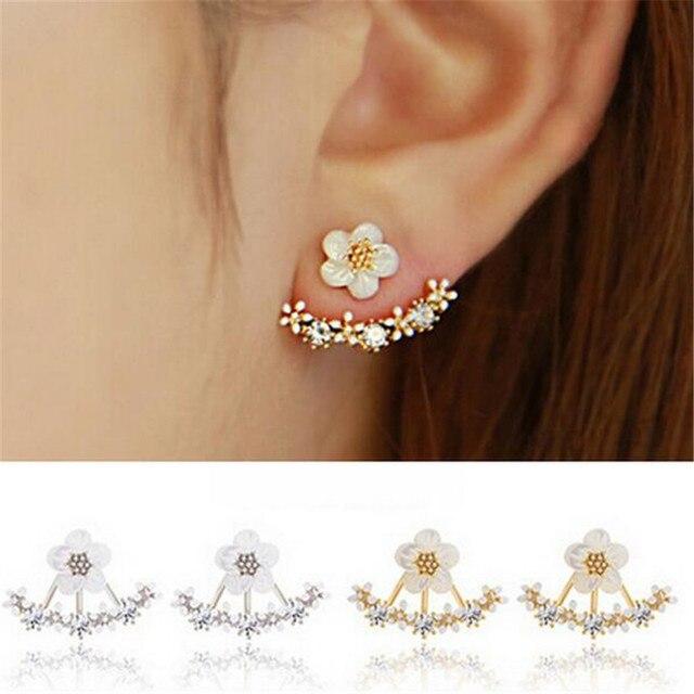 c75e4cb493a6 Crystal Pierced Stud Earrings for Women Boucle d oreille Femme 2019 Fashion  Flower Gold Bijoux