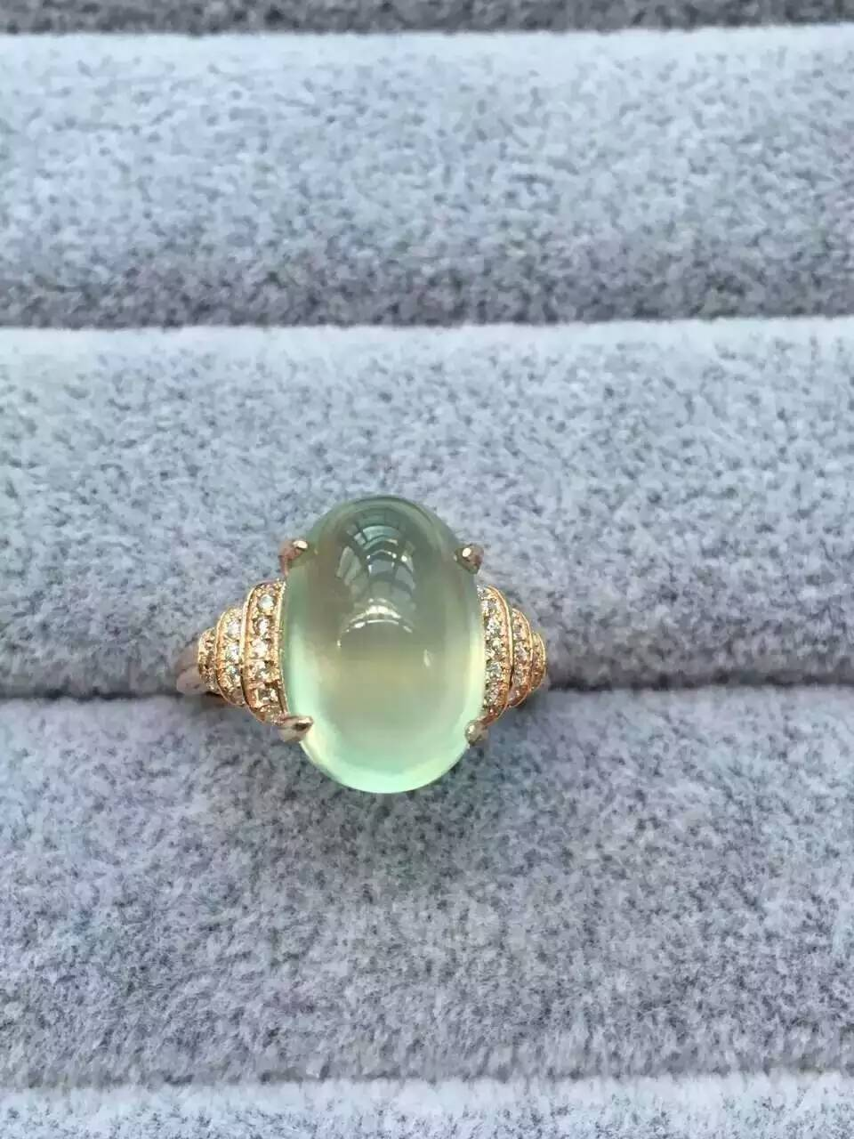 Natural green prehnite gem Ring Natural gemstone Ring S925 sterling silver trendy big luxurious round women girl gift Jewelry