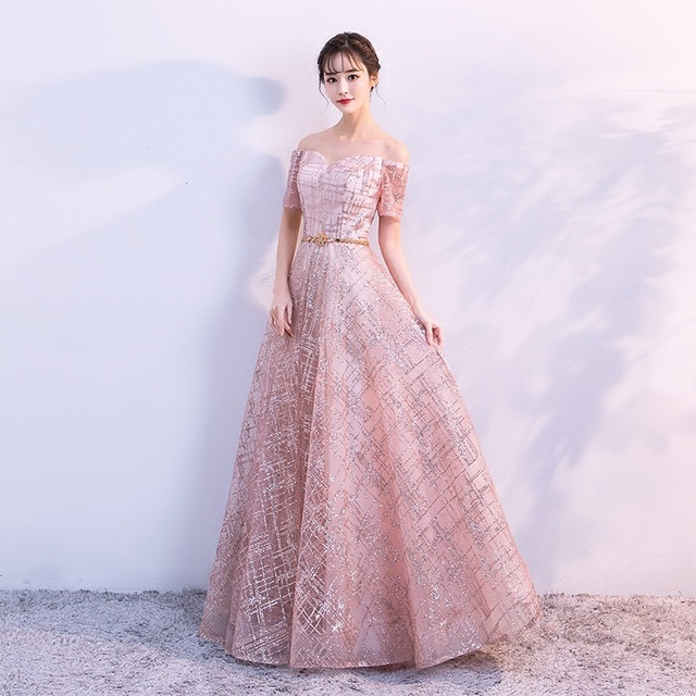 It's Yiiya Luxury Boat Neck Off The Shoulder Bling Sequined Lace Up Evening Dresses Backless Floor Length Party Gown MX011 2