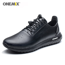 ONEMIX Black Men Sneakers Soft Microfiber Leather Trail Running Shoes Lady Jogging Sneaker White Sport Walking Trainers