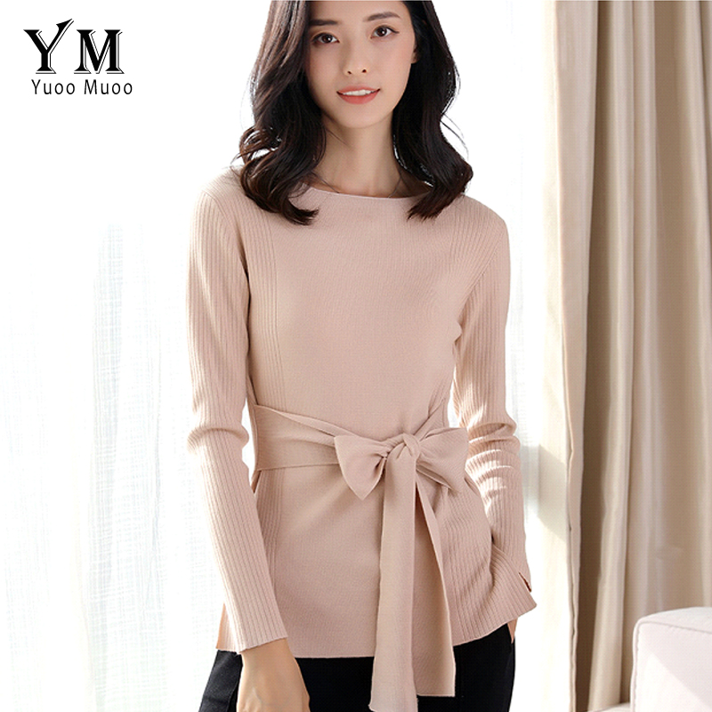 YuooMuoo 2018 New Spring Bow Sashes Designs Sweater Women Brand O-neck Knitted Pullover Korean Fashion Knitwear Female Tops