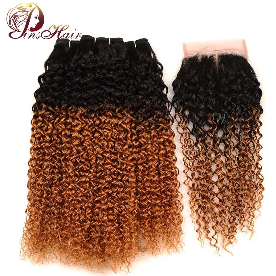 Pinshair Indian Jerry Curly Hair Ombre Bundles With Closure Dark Blonde 1B 30 Human Hair 3