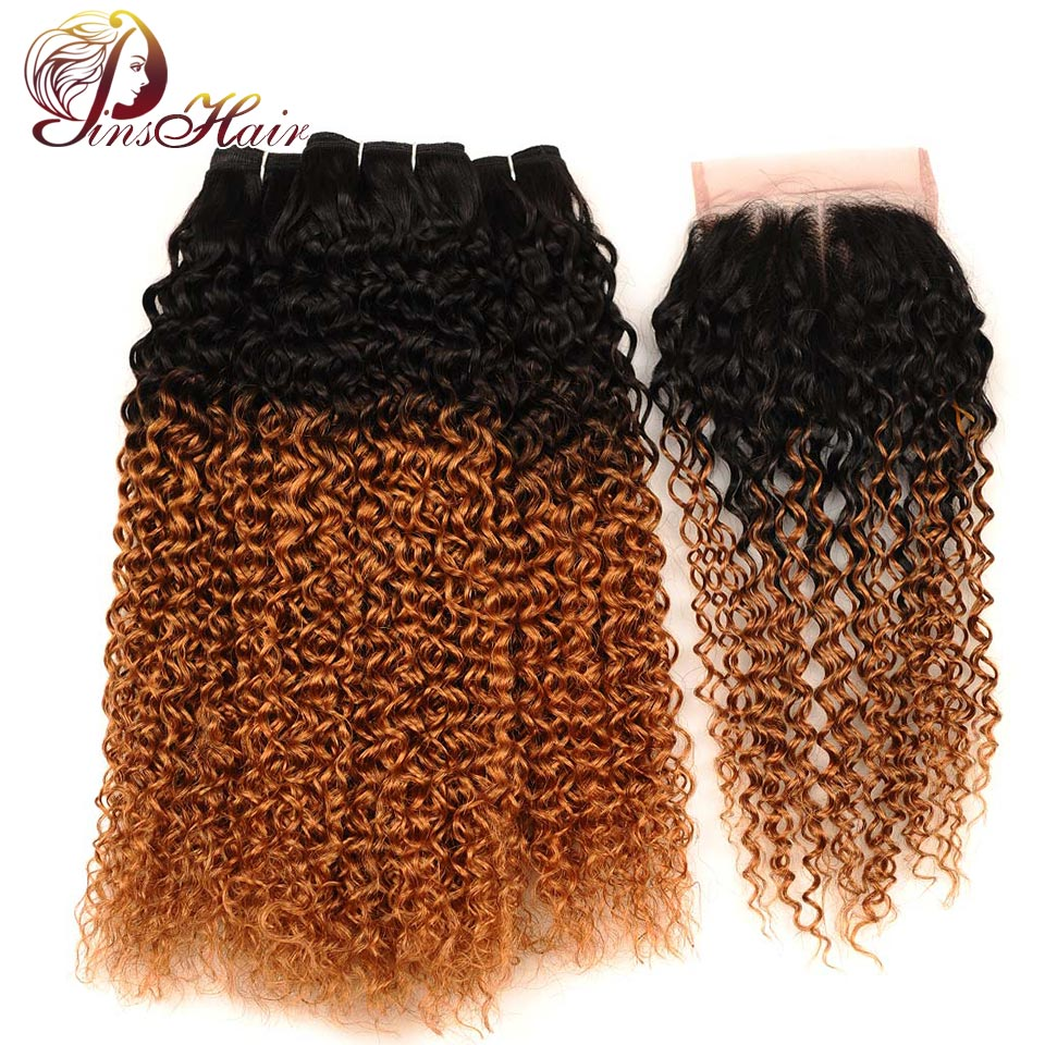 Pinshair Indian Jerry Curly Hair Ombre Bundles With Closure Dark Blonde 1B 30 Human Hair 3 Bundles With Closure Non Remy No Shed