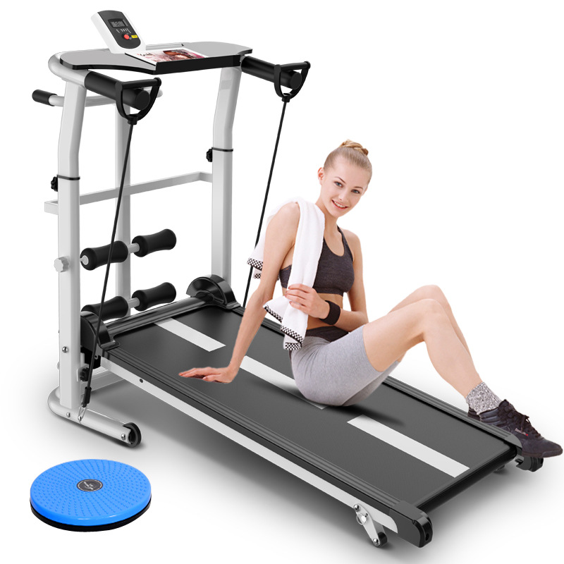 Mini Folding Treadmill Mute Fitness Equipment Wide Run Belt Treadmill 3 In 1 Twisting Waist Machine 300kg Bearing