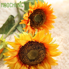 Artificial Silk Sunflowers 3 Heads Big Flowers Fake Branches Decorative Plants Stems For Home Festival Party Autumn Floral Decor