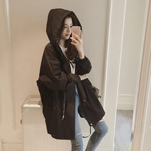 Women Clothes 2019 Trench Coat For women sleeveth mid-length trench coat women #8217 s spring and autumn Solid color women trench coat cheap Linen Casual WAFFLE Half Long Hooded Zippers Open Stitch Asymmetric Length #00341 stroj kapielowy
