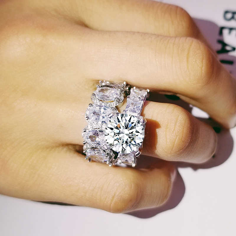 Women Luxury 2Pcs Ring Set Cubic Zirconia Silver Ring Engagement Wedding Jewelry