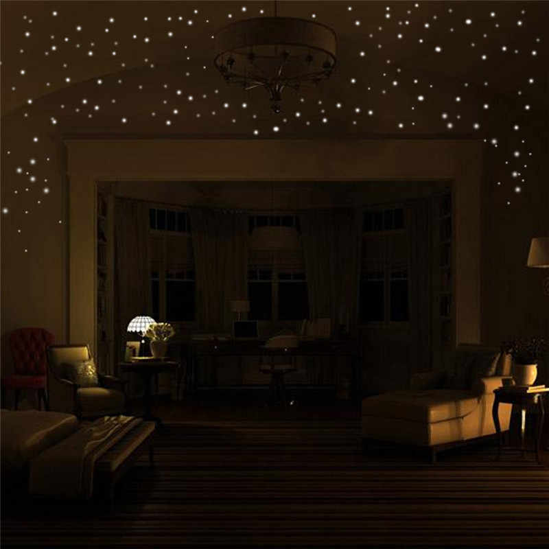 Светится в темноте наклейки на стену со звездами 407 шт Круглые точечные светящиеся наклейки для детской комнаты 2018