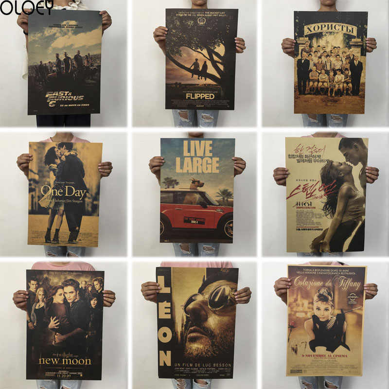 OLOEY 51.5x36cm Retro Classic Movie Poster Kraft Paper Posters Drawing Classic Poster Bar Home Decoration Painting Wall Sticker
