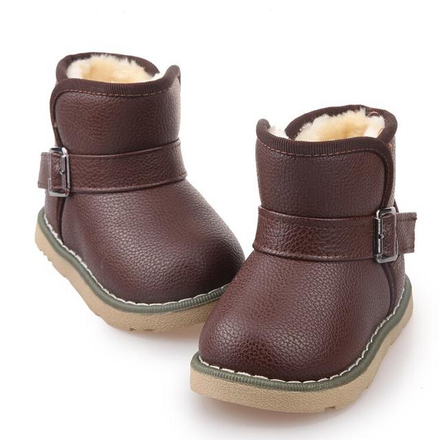 2016 Nueva Caliente Del Invierno Del Bebé Niños Niñas Zapatos Botas de Nieve Niño Niños Botas Botas Zapatos de Tobillo Plantillas 13-18 CM