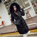 Winter Women Thick Long Parka Coat Slim Fit Big Fur Collar Pink/Black/Green Jackets With Hoodie Manteau Doudoune Femme