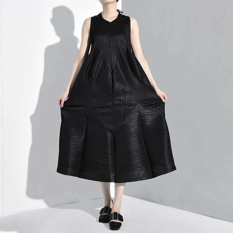 LANMREM плиссированные стильные летние винтажные женские платья с круглым вырезом без рукавов плиссированные длинные пуловерные платья свободные WG68801