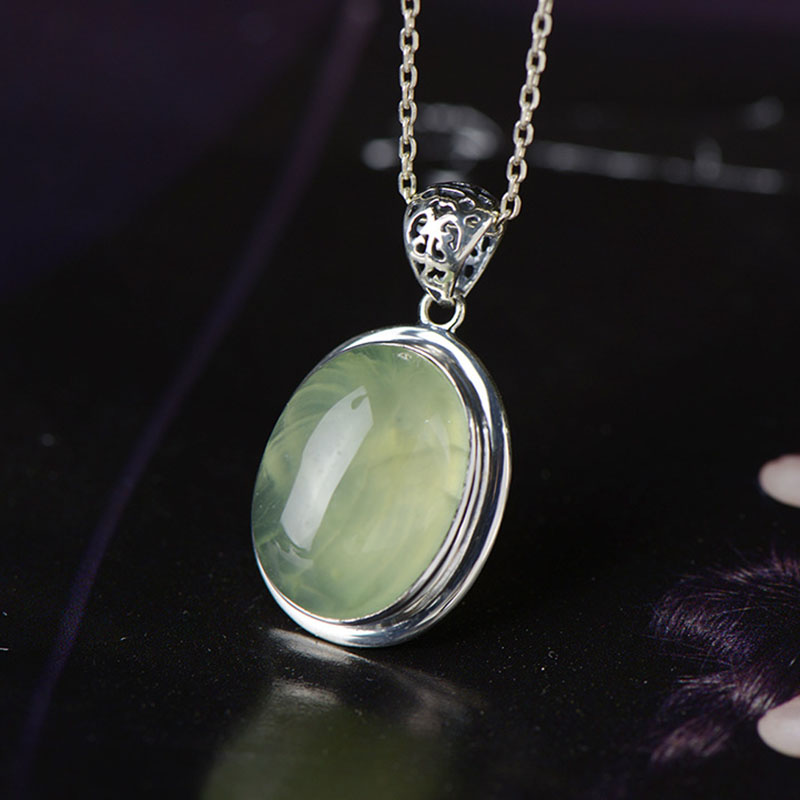 New Natural Gemstone Prehnite Pendant For Lady,Original Handmade Pure 925 Sterling Silver Pendant Elegance Jewelry For Gift
