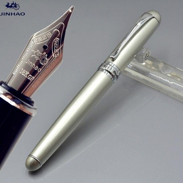 JINHAO X750 argento penna stilografica con pennino M scuola stationery  office marchio classico regalo di Affari ac1b4e2d578a