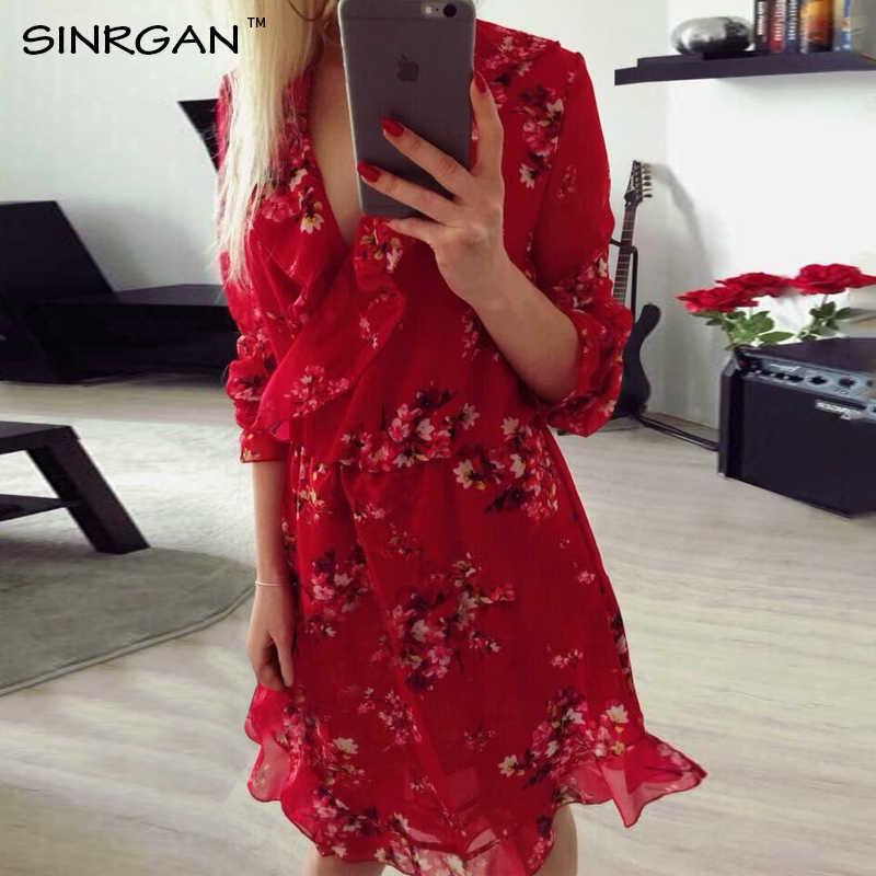 SINRGAN летнее платье с рюшами и принтом в горошек винтажное короткое платье с асимметричным бантом женское шифоновое черное платье пляжные платья 2019