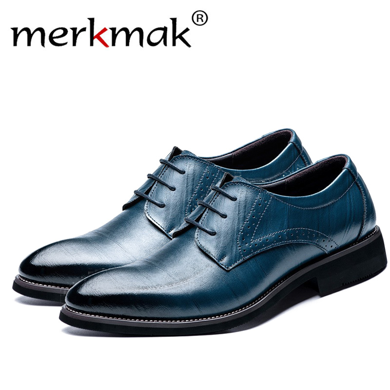 Merkmak gran tamaño 37-48 Oxfords zapatos de cuero para hombre moda Casual puntiagudos Top Formal negocios hombre vestido de novia planos Dropshiping