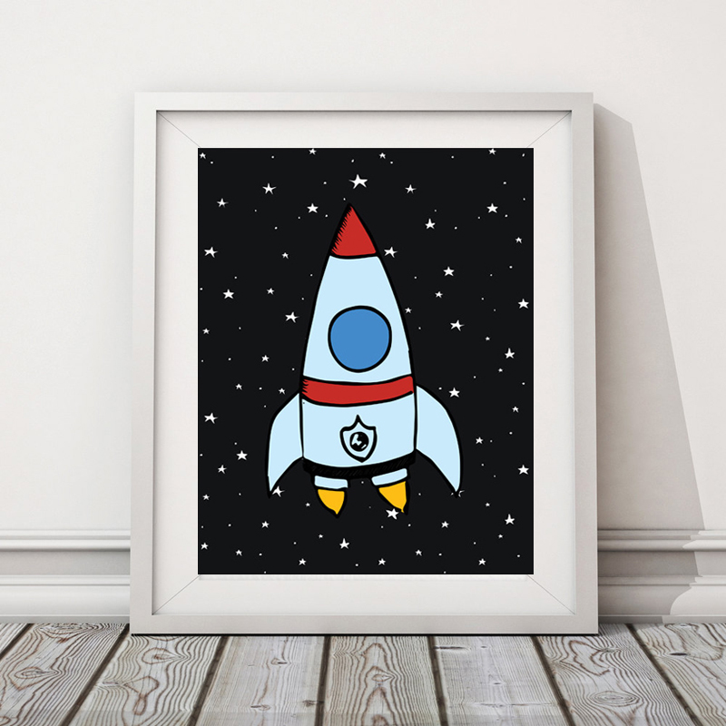 Rocket & Space Kids Poster Nursery Print Art Poster, <font><b>Scandinavian</b></font> Wall Picture Canvas Art Prints Kids Room <font><b>Home</b></font> <font><b>Decor</b></font> No Frame