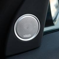 2PCS Chrome Aluminum Alloy Speaker Cover Trim Sticker For Land Rover Discovery Sport 2015 2016 Car