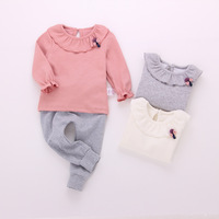 New Arrival Girl Peter Pan Collar T Shirt Toddler Fashion Lantern Leaf Sleeve Blouse Tops Cotton
