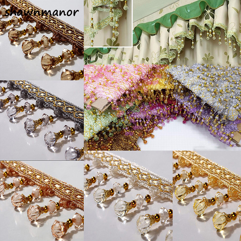 12Yards/lot 7.5CM Width Tassel Fringe Trim Pumpkin Crystal Beaded Ribbon For Sewing Curtain Accessories Lace Decoration
