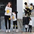 Olhar família Combinando Roupas Filha Da Mãe de Rosto Sorridente de Algodão Família Combinado Roupas pai e filho de Manga Comprida hoodies calças